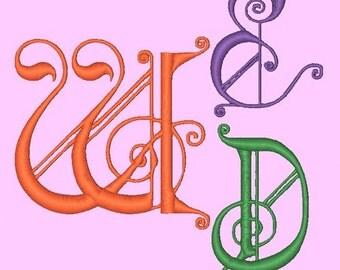 WEDDING MONOGRAM ONE - 78 Machine Embroidery Font Designs Instant Download 4x4 5x7 6x10 hoop (AzEB)