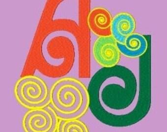BIG CURLS  - 231 Machine Embroidery Font Designs Instant Download 4x4 5x7 6x10 hoop (AzEB)