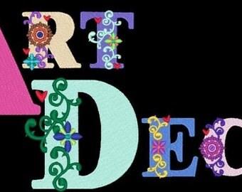 ART DECO FLOWERS  - 126 Machine Embroidery Font Designs Instant Download 4x4 5x7 6x10 hoop (AzEB)