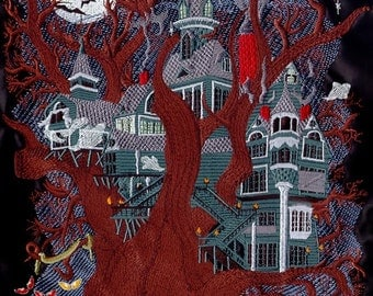 HAUNTED HOUSE - Machine Embroidered Quilt Blocks (AzEB)