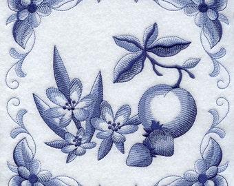 DELFT BLUE CROCUS - Machine Embroidered Quilt Blocks (AzEB)