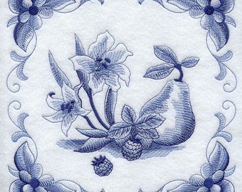 DELFT BLUE GLADIOLUS - Machine Embroidered Quilt Blocks (AzEB)