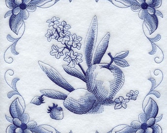 DELFT BLUE HYACINTH - Machine Embroidered Quilt Blocks (AzEB)