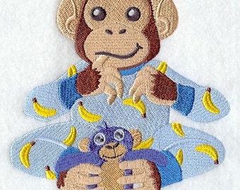 CHIMPANZEE In PAJAMAS - Machine Embroidery Quilt Blocks (AzEB)
