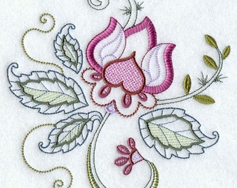 VINTAGE JACOBEAN FLOWER 1 - Machine Embroidered Quilt Blocks (AzEB)