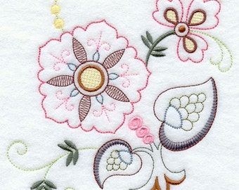 VINTAGE JACOBEAN FLOWER 2 - Machine Embroidered Quilt Blocks (AzEB)