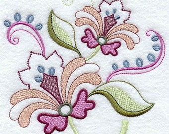 VINTAGE JACOBEAN FLOWER 3 - Machine Embroidered Quilt Blocks (AzEB)