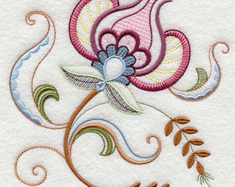 VINTAGE JACOBEAN FLOWER 4 - Machine Embroidered Quilt Blocks (AzEB)