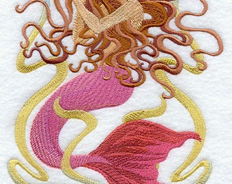 ART NOUVEAU Mermaid Melody lg) -Machine Embroidered Quilt Blocks (AZEB)