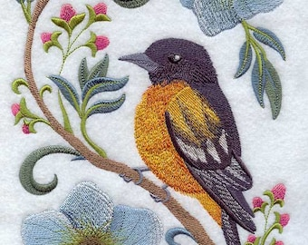 ORIOLE in FLOWERS-Machine Embroidered Quilt Blocks (AzEB)