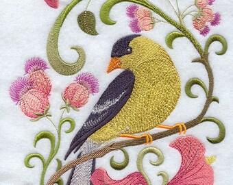GOLDFINCH in FLOWERS-Machine Embroidered Quilt Blocks (AzEB)