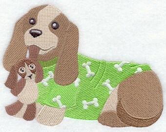 PUPPY IN PJS - Machine Embroidered Quilt Block(AzEB)