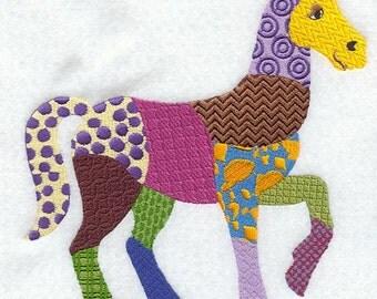 PATCHWORK HORSE- Machine Embroidered Quilt Blocks(AzEB)