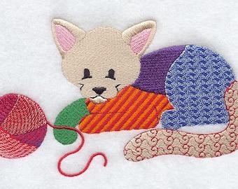 PATCHWORK KITTEN- Machine Embroidered Quilt Block(AzEB)