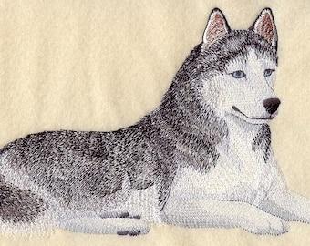 SIBERIAN HUSKY DOG - Machine Embroidered Quilt Blocks (AzEB)