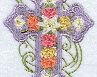 ROSE and LILY CROSS 2 - Machine Embroidered Quilt Blocks (AzEB)