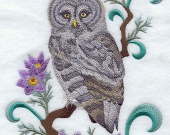 MANITOBA GREAT GREY Owl and Prairie Crocus Medley- Machine Embroidery Quilt Blocks (Azeb)