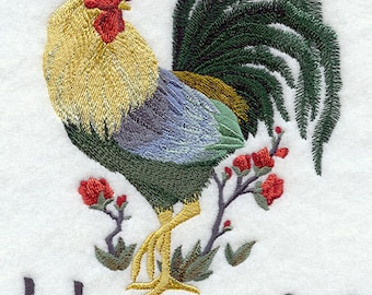 ASIAN ROOSTER of HONESTY - Machine Embroidery Quilt Block (Azeb)