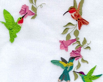 FOUR HUMMERS- Machine Embroidery Quilt Block (Azeb)