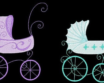 FANCY BABY BUGGIES - 30 Machine Embroidery Designs Instant Download 4x4 5x7 6x10 hoop (AzEB)