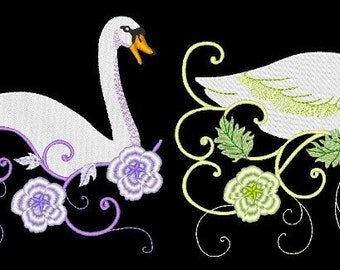 MAJESTIC SWANS - 30 Machine Embroidery Designs Instant Download 4x4 5x7 6x10 hoop (AzEB)