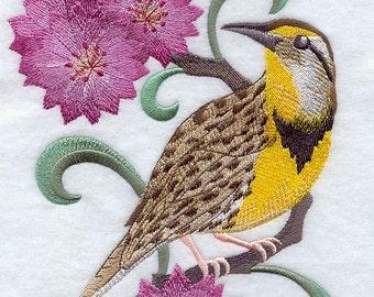 MONTANA WESTERN MEADOWLARK & Bitterroot Medley - Machine Embroidered Quilt Blocks (Azeb)