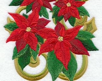 VICTORIAN POINSETTIA - CHRISTMAS - Machine Embroidery Quilt Block (AzEB)