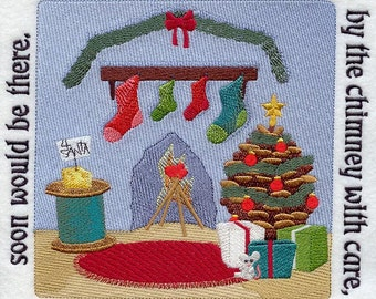 The NIGHT BEFORE CHRISTMAS Storybook - Page 2- Machine Embroidered Quilt Block (AzEB)