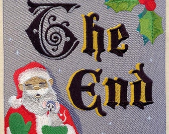 The NIGHT BEFORE CHRISTMAS Storybook - The End - Machine Embroidered Quilt Block (AzEB)