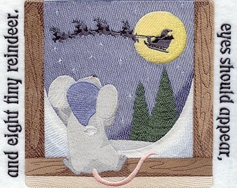 The NIGHT BEFORE CHRISTMAS Storybook - Page 8- Machine Embroidered Quilt Block (AzEB)