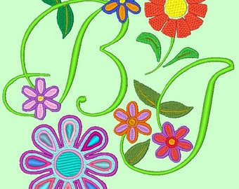 BLOSSOMS - 102 Machine Embroidery Font Designs Instant Download 4x4 5x7 6x10 hoop (AzEB)