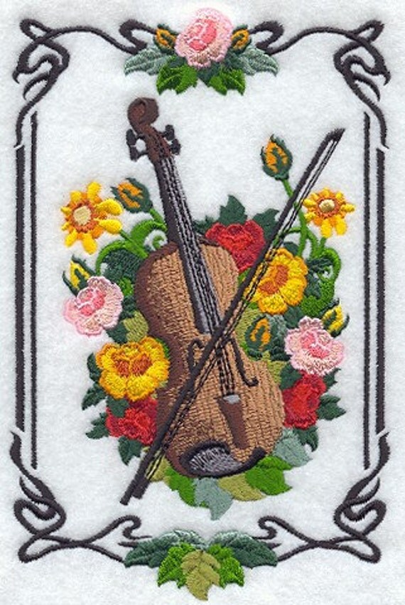 Celtic Violin Machine Embroidered Quilt Blocks Azeb