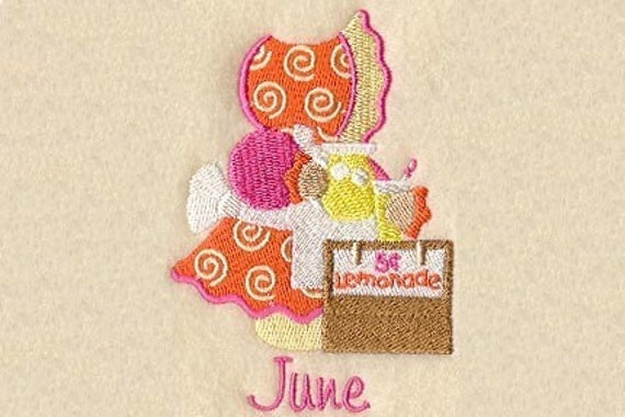 SUNBONNET SUE MONTHS of the Year (June) - Machine Embroidery Quilt Block (AzEB)