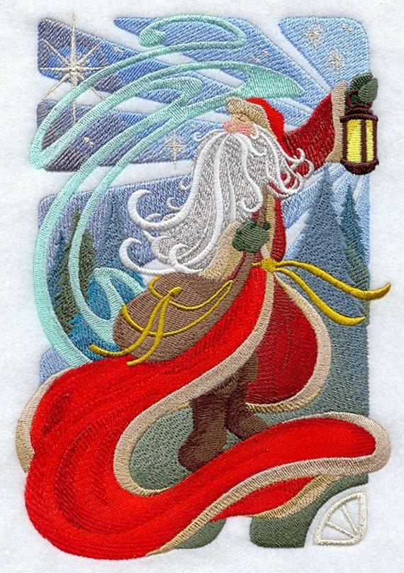 Art NOUVEAU SANTA CLAUS Machine Embroidery Quilt Block : art nouveau quilts - Adamdwight.com