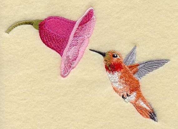 RUFOUS HUMMINGBIRD Machine Embroidered Quilt Block AzEB : hummingbird quilts - Adamdwight.com