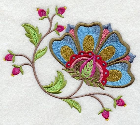 Jacobean flower machine embroidered quilt block azeb