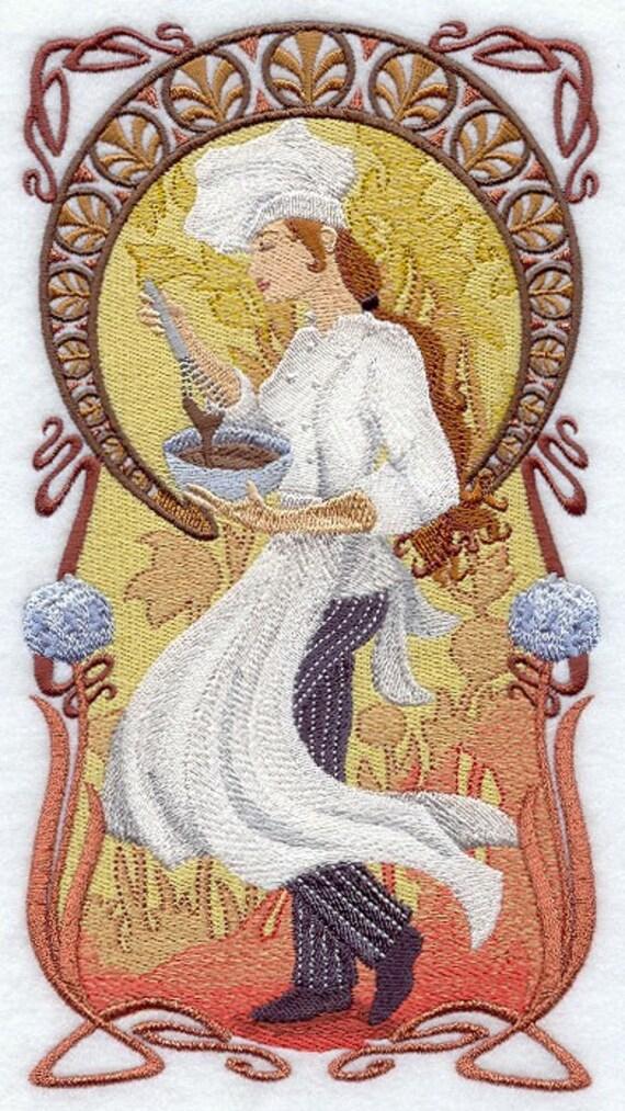NOUVEAU CHEF STIRRING - Machine Embroidered Quilt Block (AzEB)