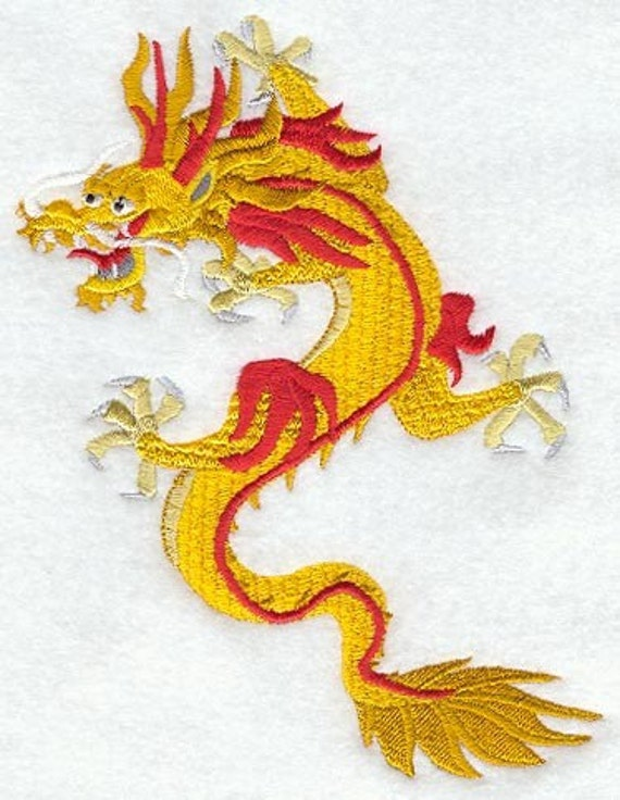 YELLOW DRAGON - Machine Embroidered Quilt Blocks (AZEB)