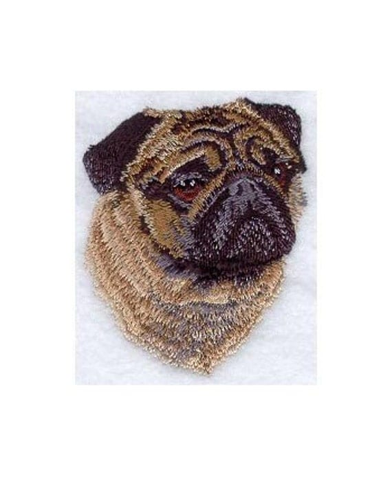 PUG (PORTRAIT) - Machine Embroidered Quilt Blocks (AZEB)