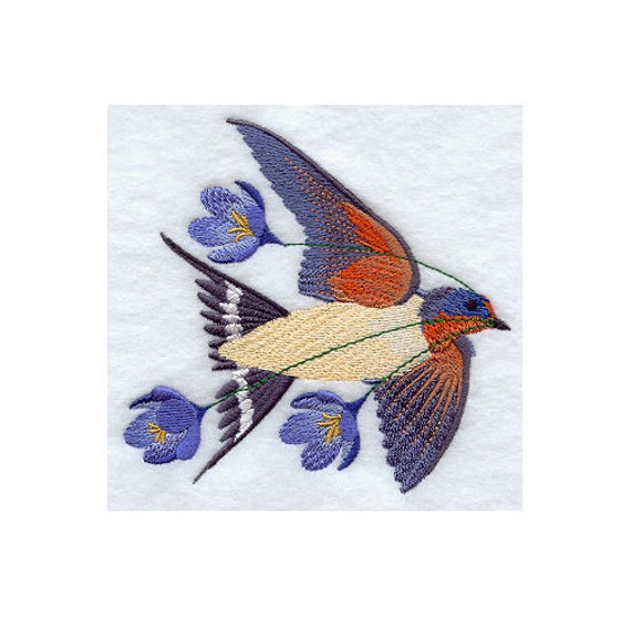 FLYING BARN SWALLOW- Machine Embroidered Quilt Blocks (AzEB)