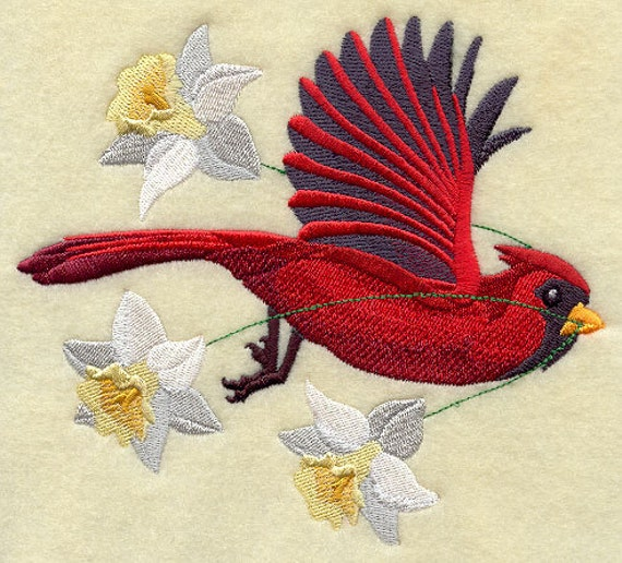 Parrot Home Decor Trend Flying High: FLYING CARDINALwith DAFFODILS Machine Embroidered Quilt