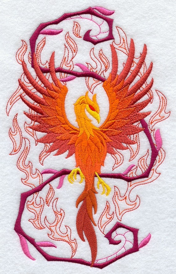 PHOENIX in FLAMES-Machine Embroidered Quilt by ...