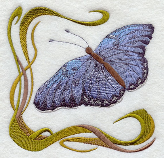 ART NOUVEAU BUTTERFLY 3 - Machine Embroidered Quilt Blocks (AzEB)
