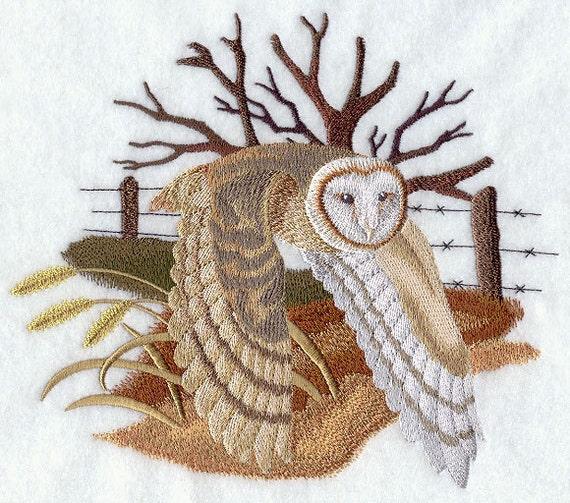 BARN OWL In FLIGHT Machine Embroidered Quilt Blocks Azeb