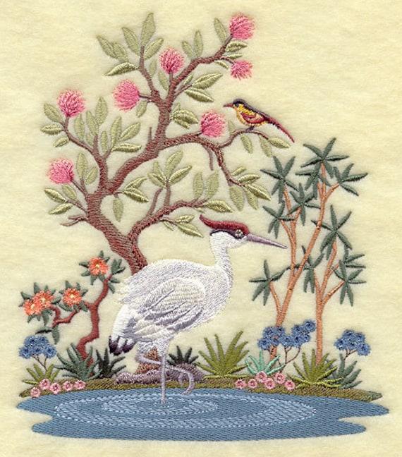 CHINOISERIE CRANE SCENE- Machine Embroidery Quilt Blocks (Azeb)