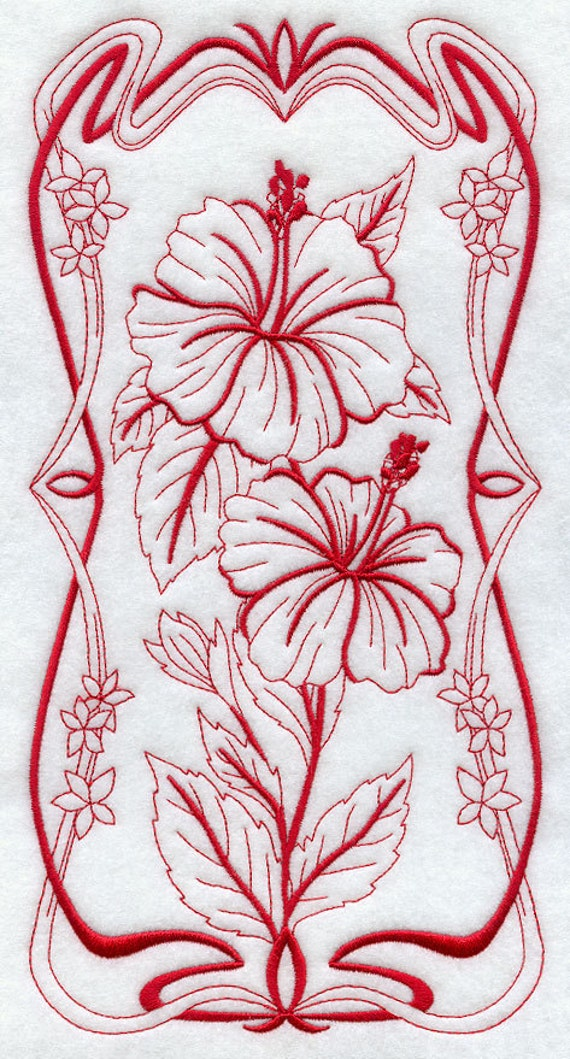 Blooming Art Nouveau Hibiscus Machine Embroidery Quilt