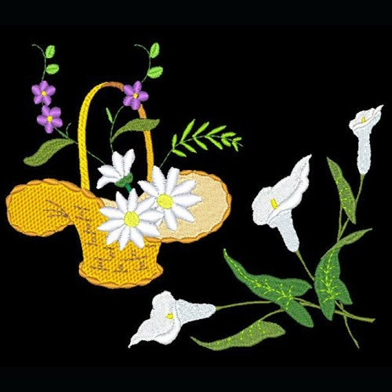 BASKET and FLORAL - 7 Machine Embroidery Designs Instant Download 4x4 5x7 hoop (AzEB)
