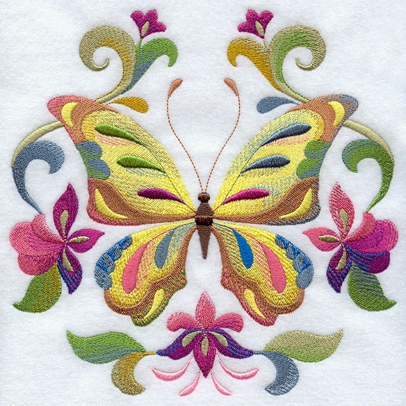 Butterfly circle machine embroidered quilt blocks azeb