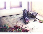 Beet Boots Garden Harvest - still life art print color pencil drawing - vegetables and muddy boots / gift for gardeners food art