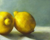 Tart Lemons art print of oil painting / reproduction of still life painting / Kitchen Wall Art / Home Decor / food art / gift for gourmet